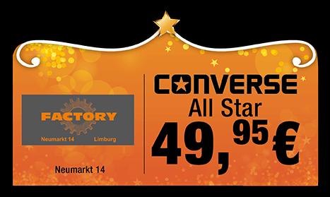 Factory Converse All Star 49,95 Euro Sternschnuppenangebot