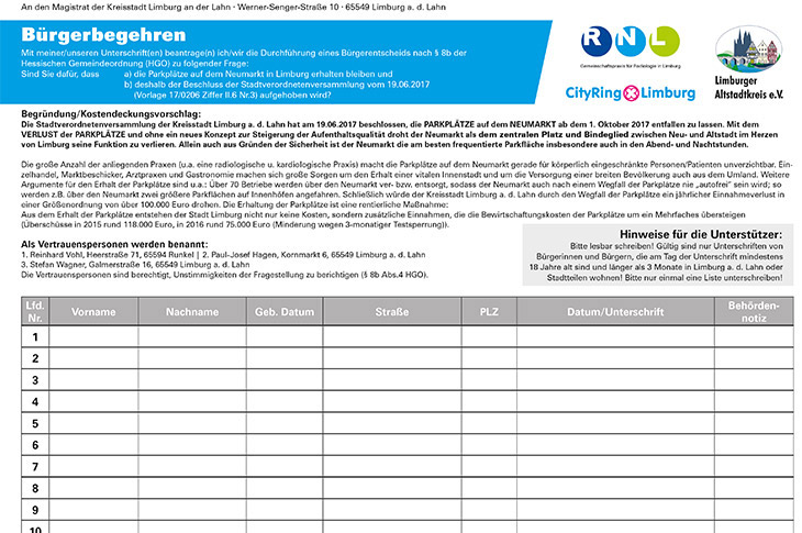 Bürgerbegehren Neumarkt - Unterschriftenliste