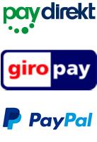 Zahlungsarten PayPal, Paydirekt, giropay